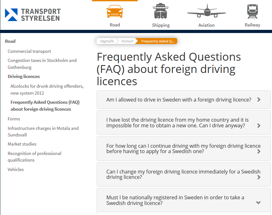 Driving licences in Sweden